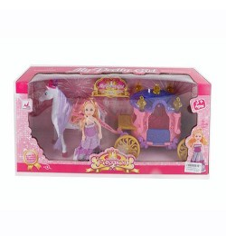 Карета 05011 (24шт) муз,свет,лошадь(17см) ходит, кукла(15см), в кор-ке, 46-21-11см