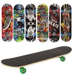 Скейт MS 0354-2 (6шт) 70,5-20см,алюм.подвеска,колесаПВХ,7слоев,6видов,608Z,разобр,доска в кульке,