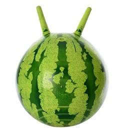 Мяч для фитнеса-38см MS 0473 (25шт) с рожками, арбуз, в кульке, 19-13-5см