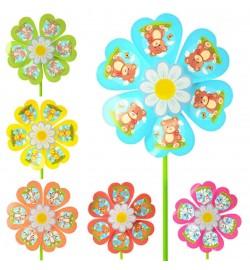 Ветрячок M 2420 (120шт) маленьк,диам.22см,палоч35см,цветок,пластик,6вид(6цв),2шт в кульке,22-22-3см