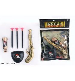 Пиратский набор 55904 (600шт/2) подз.труба, мушкет, повязка, в пакете 19*14*2см