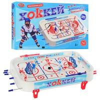 Хоккей 0700 (12шт) на штангах, фигурки 14шт, шайбы 2шт, наклейки, в кор-ке, 58,5-35-7см