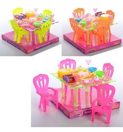 Столовая A8-67 (72шт) стол, стулья 4шт, столовые приборы, слюде, 18-17-12см