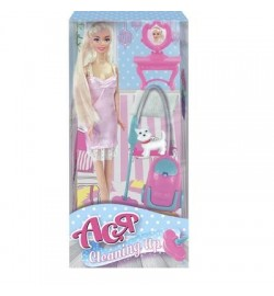 Набор с куклой Асей с пылесосом ' Уборка '; 28 см; блондинка