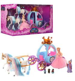 TG Карета 778397/201 (12шт) кукла Золушка, 2 лошади, фея, мыши, свет, на бат-ке, в кор-ке,49-20-26с