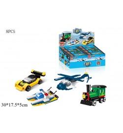 Конструктор BRICK 1233-1236 (128шт) транспорт,в кор-ке12,5-8,5-4,5см,8шт(4вид)в дисплее,29-18,5-15с