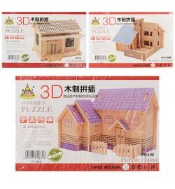 Деревянная игрушка Пазлы 3D D1-022-3-5 (360шт) дом, 3 вида, в кульке, 23-15,5-0,5см