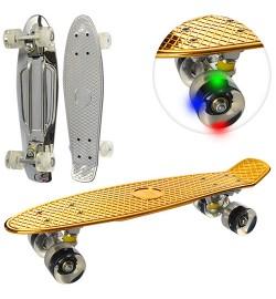 Скейт MS 0296 (6шт) пенни56-14см,алюм.краш.подвеска,колесаПУ,свет,подшABEC-7,металлик,2цвет,в кульк