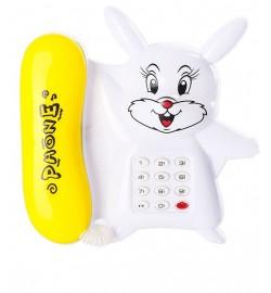Телефон 6808-12A (216шт) зайчик, зв, муз, свет,на бат-ке, 17-17-3,5см