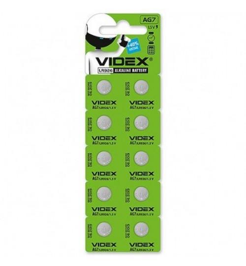 Батарейка часов Videx AG7/LR926 BLISTER CARD 10 pcs