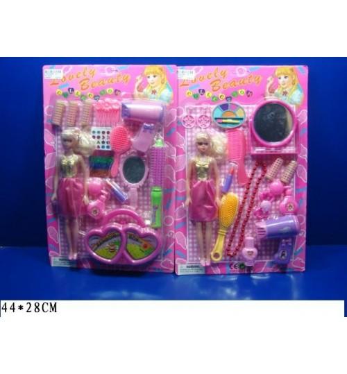 Парикмахерский набор 9317/9318 (72шт/2)2вида, кукла,фен,расчески,бигуди,косм.,бижу,..на планш.44*28