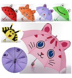 Зонтик детский MK 0527 (60шт) длина49,5см,трость61,5см,диам.77см,спица46,5см,ткань,рисун,6видов