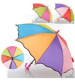 Зонтик детский MK 0529 (60шт) длина55см,трость68см,диам.85см,спица50см-пласт,ткань,4цвета