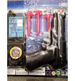 Набор полицейского 169GC-EA-EC-EX (384шт) пистолет, пули-присоски3шт, 4 вида, на листе, 19-21-2,5см