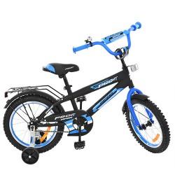 Велосипед детский PROF1 14д. G1453 (1шт) Inspirer,черно-синий(мат),звонок,доп.колеса