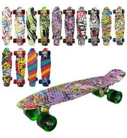 Скейт MS 0748-1 (8шт) пенни,55-14,5см,алюм.подвеска,колесаПУ, подшABEC-7,принт,разобр,8видов,