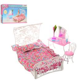 Мебель 2814 (18шт) спальня, кровать, трюмо, стул, в кор-ке,33,5-21-6см