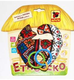 Брязкальце Етно-Еко котик з кiльцями МК3103-01 погремушка