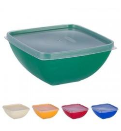 Миска-салатница пластиковая квадратная 500мл с крышкой PT-83177 (130шт)