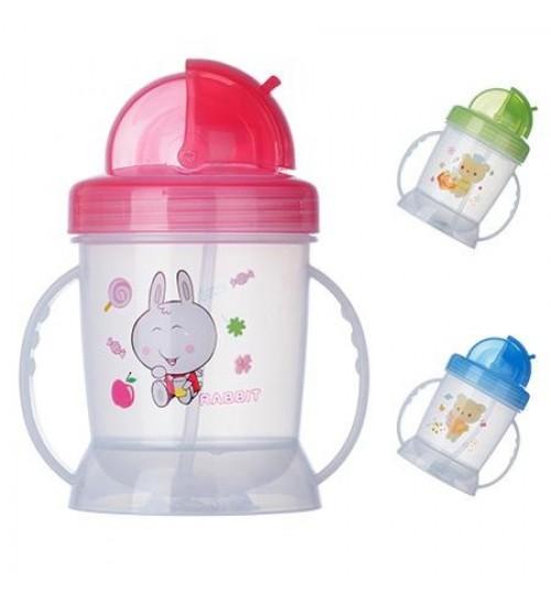 Чашка-поилка пластик детская с ручками 180мл J00092 (120шт)