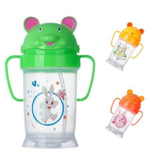 Чашка-поилка пластик детская с ручками 180мл J00102 (120шт)