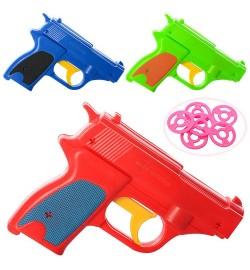 Пистолет 680-1 (360шт) диски 6шт, 3цвета, в кульке, 12-9-2,5см