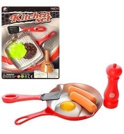 Посуда 792 (120шт) сковорода, продукты, 2 вида, на листе, 24,5-33,5-6см