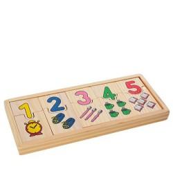 Деревянная игрушка Пазлы M00820 (270шт) домино, обучающ(цифры), в пенале, в кульке, 23-9,5-2см