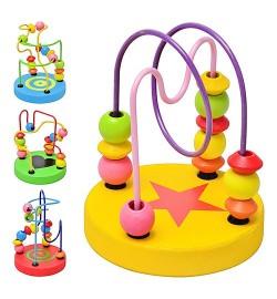 Деревянная игрушка Лабиринт на проволоке MD 0489 (120шт) 4 вида, в кульке, 9-10см