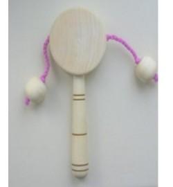 Погремушка  деревянная с 2-мя деревянными шариками