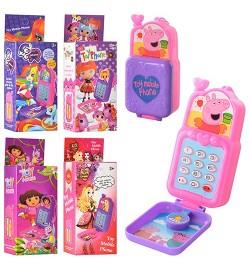 Телефон 1601-2-3-4-5 (360шт) 10см,5вид(Даша,EAH,LP,PP,LLP),муз,свет,на бат-ке,в кор-ке,5,5-14-3,5см