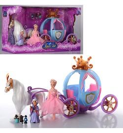 Карета 205 А (12шт) с куклой, лошадью, звук, свет, на бат-ке, в кор-ке, 43-26-20см