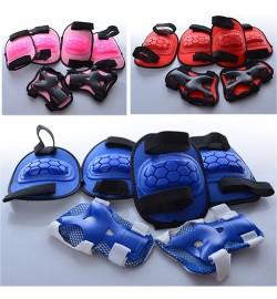 Защита MS 0335 (50шт) для коленей, локтей, запястий, 3 цвета, в сетке, 19-29-9см
