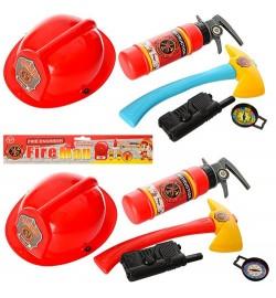 Набор пожарника 9212-6 (72шт) каска 24см, топор, огнетушитель, 2 цвета, в кульке, 29-35-9см