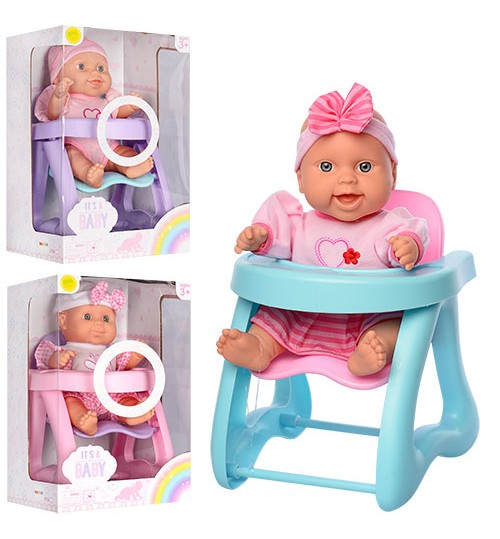 Пупс 6104 (24шт) 28см, стул для кормления, звук, 3вида, на бат(таб), в кор-ке, 20-32-20см