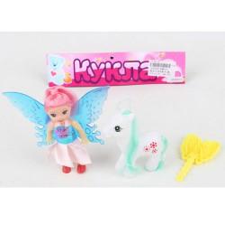 Кукла XMR010 (120шт) фея, 10см, лошадка 7см, расческа, в кульке, 21-18-3см
