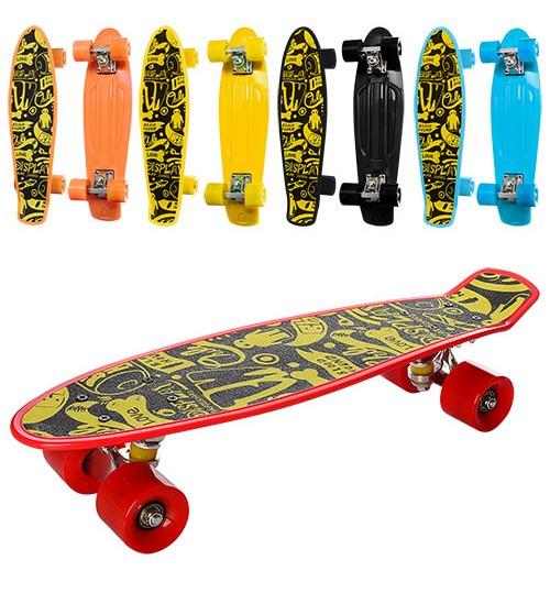 Скейт MS 0298 (6шт) пенни,56-14,5см(нажд),алюм.подвеска,колесаПУ, подшABEC-7, разобр,5цветов,