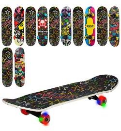 Скейт MS 0355-3 (6шт) 79-20см(нажд),алюм.подв-цветн,колесаПУ-свет,9слоев,подшABEC-5,принт-2стор,6ви