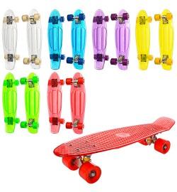 Скейт MS 0855-2 (10шт) пенни,57-15см,алюм.подвеска,колесаПВХ,подшABEC-7,прозрачный,разобр,микс цв