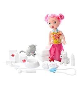 Кукла XMR014 (90шт) 10см, набор доктора, животное 2шт, в кульке, 12-17-2,5см