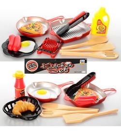 Посуда 828-9A-13A (110шт) сковородка 2шт, кухон.принадлежности, продукты, 2вида,в кульке,21,5-24-6с