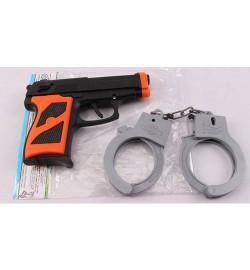 Набор полицейского P014-2 (240шт) пистолет, наручники, в кульке, 13-11-3см