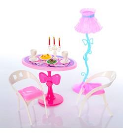 Мебель O1 (240шт) стол, стулья  2шт, стол, торшер, посуда, канделябр, в кульке, 18-16-6см