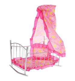 Кроватка 9349 (6шт) для куклы,желез,качал,47-33-67см,балдахин,подушка,сп.место 43см, 33,5-47-5,5см