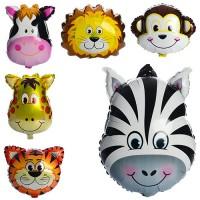 Шарики надувные фольгированные MK 1332 (500шт) животные, 60-45см, 6видов