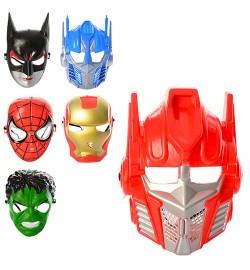 Маска MK 1317 (300шт) супергерои,6вид(IM,2в-TF,2в-AV,СП),в кульке, 22-16-6см
