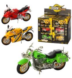 Мотоцикл HX0031 (9шт) 14см,1:16,звук,св,кор15-8,5-6,5см,на бат(табл),12шт(3цв) в дисплее,31-27-14см