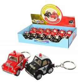 Машинка KT2001DPRK (288шт) брелок,металл,инер-я,5см,12шт(2вида-полиция,пожарная) в дисплее,25-13-5с