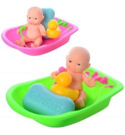 Пупс 17-30 (75шт) 12см, ванна 18см, аксессуары, 2 цвета, в кульке, 18-16-5см