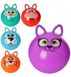 Мяч для фитнеса MS 0471 (25шт) с ушками,40см, одностикер,350г,5 видов (животные),в кульке,17-13-3см